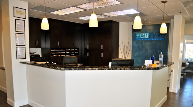 Welcome desk at Younique Med Spa
